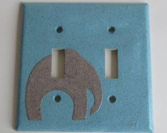 Elephant on Blue Light switch Plate- double- Recycled Materials