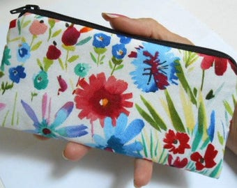 Zipper Pouch Smart Phone Pouch Eco Friendly Padded NEW SIZE Spring has Sprung