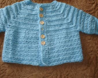 Boys 6-9months  aqua sweater & hat set.