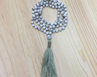 Knotted Mala necklace- Howlite- Tassel necklace