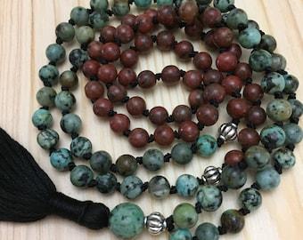 Mala, Mala Necklace, Tassel Necklace, Malas, Yoga, Meditation, Boho, Gemstone Necklace, African Turquoise Mala
