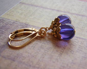 Violet Earrings Gold Plated Lever Back Ear wire 8 mm Glass Dangle