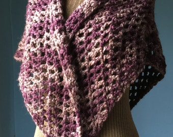 Rustic Shawl Purple and Taupe Warm Crochet Shawl Wrap Purple Shawl
