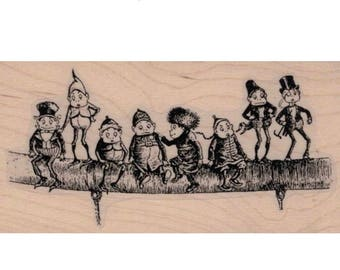 Halloween stamps  Elves On A Line   hobbit fairy  rubber stamps    20089 stamp stamping supplies