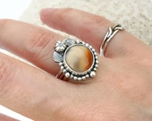 Lake Superior Agate Mixed Metal Ring, Sterling Silver Ring with Copper, Floral Ring for Gardener or Flower Lover, Unique Artisan Design