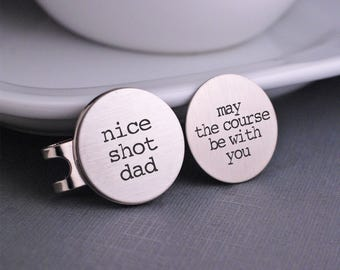 Golf Ball Markers, Personalized Stainless Steel Golf Gift for Dad, Father's Day Golf Gift
