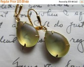 SALE Beyond the Sea~ vintage pale yellow tumbled glass drop earrings.