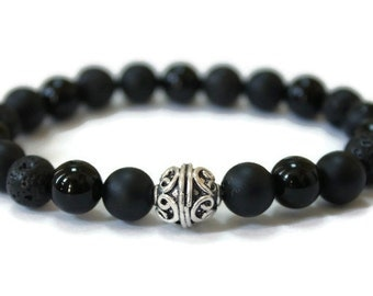 ELYSIUM Mens Wellness Bracelet-Black Onyx, Lava stones, Oil Diffuser, Aromatherapy,  Anti Anxiety,Bali Silver,Unisex