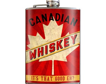 Canadian Whiskey - 8oz Stainless Steel Flask - comes in a GIFT BOX -  by Trixie & Milo