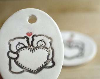 Ceramic Pendants with Cute Bears -- Set of Three