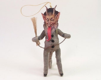 Vintage Inspired Spun Cotton Krampus Christmas Ornament/Figure (MADE TO ORDER)