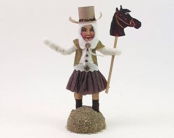 READY TO SHIP Vintage Inspired Spun Cotton Cowgirl Figure Ooak