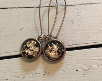 Gold foil earrings-black gold foil earrings-black and gold earrings-black kidney wire earrings-black dangle earrings