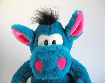 Vintage Dragon Puppet Stuffed Animal named Derk Play Talkin 24K Polar Puff Special Effects Mighty Star 1990s Toy Plush