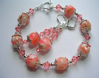Pink Mosaic Shell and Silver Swarovski Bracelet and Earring Set Toggle Clasp Leverback Hooks