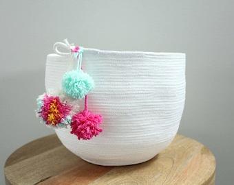 Basket rope coil bin storage organizer bowl pompoms white mint hot pink orange by PETUNIAS