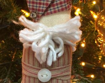 Handmade country santa Christmas ornament