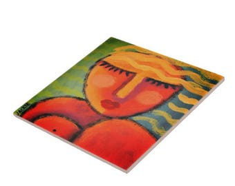 Abstract Portrait of a Blonde Woman Printed on Ceramic Tile