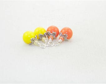 Orange and yellow handmade beaded dangle drop charms, Hand wrapped beads for earrings, Dangle charms, Pendants, Zipper pulls, Bride, Gift
