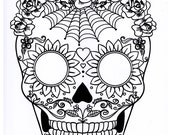 Five different sugar skull coloring pages, printable digital download no 481.