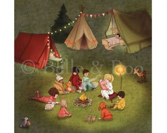 Campfire Stories Art Print, camping vintage style art