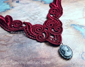 Cameo Choker with Red Lace, Victorian Jewelry, Adjustable Necklace, Victorian Gothic, Romantic Goth, Lace Choker, Cameo Jewelry, Steampunk