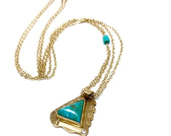 Gold Vermillion Chain with Turquoise