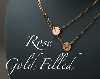 ROSE gold Layering Initial Necklace, Multi strand necklace, Personalized Necklace - Two MEDIUM Charms Discs Necklace