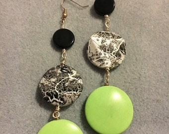 SALE! Silver, Black and Green Turquoise Disk Earrings