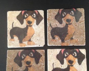 Coasters, Set of Four, Adorable Dachshunds