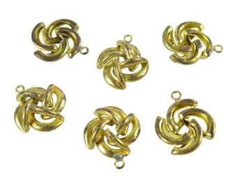 Vintage Tarnished Brass Knot Pendants (4X) (V439)