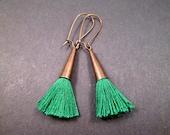 Tassel Earrings, Christmas Green Cotton and Brass Dangle Earrings, FREE Shipping U.S.