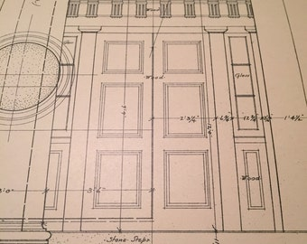 Architectural Drawing from 1750-1820 of DC Courthouse, circa 1914 Double Size. Building Details. Sheet 3