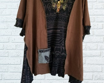 5X Beaded Tribal Fringed Color block Tunic Shirt Eco Friendly Plus Recycled Fashion Earthy Brown Black