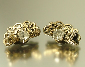 Reserved - Vintage/ estate 1940s/ 50s Czech style filigree & clear glass costume clip on earrings - jewelry jewellery UK seller