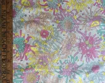Pink yellow blue coral floral print cotton broadcloth fabric robert kaufman london calling chrysanthemum dwk 8984 discontinued and rare