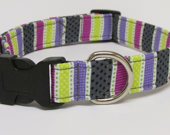 Stripes & Dots in purple and grey/gray and yello Printed Handmade Dog Collar