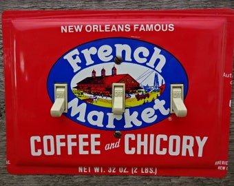 New Orleans French Market Coffee Chicory Tin Switch Plate Cover Triple Toggles Made From Antique Tins Cans Unique Lighting TP-4011