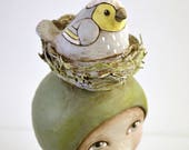 Bird Nest Original Hand Painted Folk Art Doll Paper Mache Sculpture OOAK