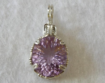 Wire Wrapped Pendant -- Spectacular Fancy Cut Lavender Amethyst Sterling Silver Pendant