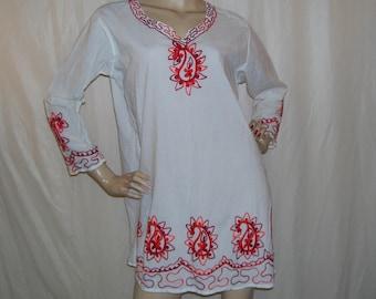 Paisley Beach Dress Summer Shirt Hippie Tunic Bohemian Resort Vintage White Cotton Sunset Red Orange Paisley Embroidery Dress Adult M L
