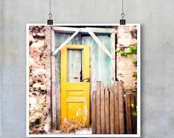 Greek Travel Photography: Old wooden grungy shabby chic yellow doors in Crete - 22x22 12x12 18x18 22x22 inch square Fine Art Photo P