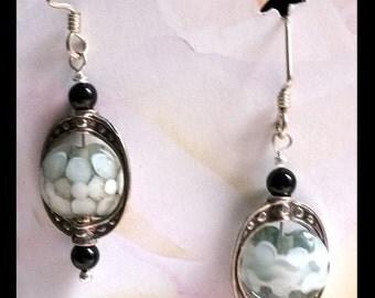 Lampwork and sterling earrings