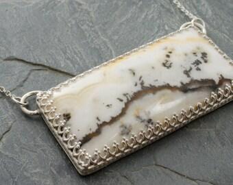 Snowy Branch Necklace. Silver Lace Onyx Pendant. Sterling Silver Pendant Necklace. Onyx Necklace. Rectangle Pendant. White Onyx Necklace.