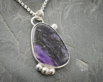 Charoite Necklace. Gemstone Pendant. Silver Purple Necklace. Charoite Cabochon Pendant. Gemstone Cabochon.
