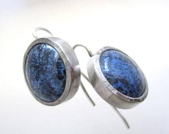 Dumortiorite Cabochon and sterling silver earrings, circular blue stone drop earrings