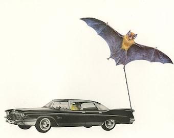 Bat mobile.  Original collage by Vivienne Strauss.