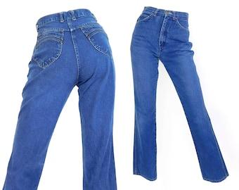 Sz 4 80s Brittania High Waisted Mom Jeans - Vintage Women's Straight Leg High Rise Faded Indigo Denim Jeans - 26 Waist