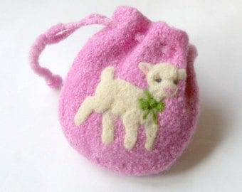 Easter Lamb Pouch: All Natural Purse or Treasure Bag (Felted Wool Sheep)