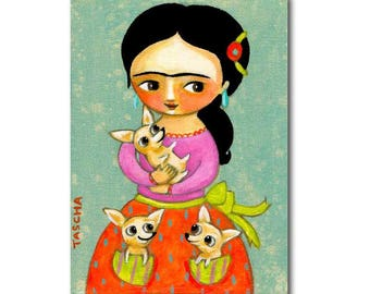 Frida Kahlo with three chihuahuas painting CUTE chihuahua dog folk art original painting by artist Tascha
